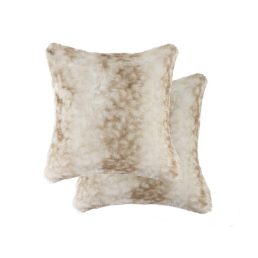 "2-Pack Faux Fur Pillow 18"" X 18"" - Faux Rabbit Beige"