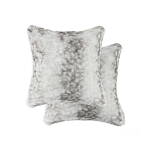 "2-Pack Faux Fur Pillow 18"" X 18"" - Faux Rabbit Grey-White"