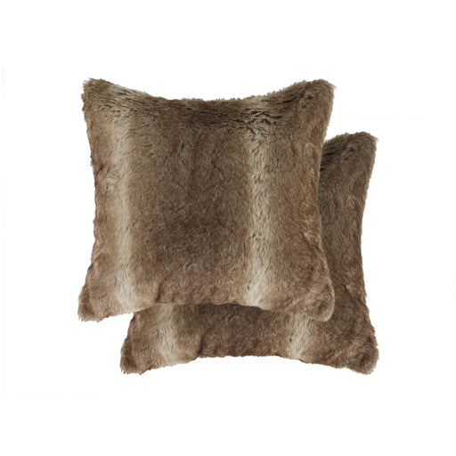 "2-Pack Faux Fur Pillow 18"" X 18"" - Faux Rabbit Taupe"