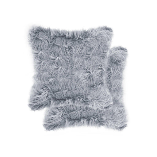 "2-Pack Faux Fur Pillow 18"" X 18"" - Grey"