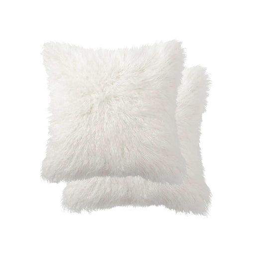 "2-Pack Faux Fur Pillow 18"" X 18"" - Off White"
