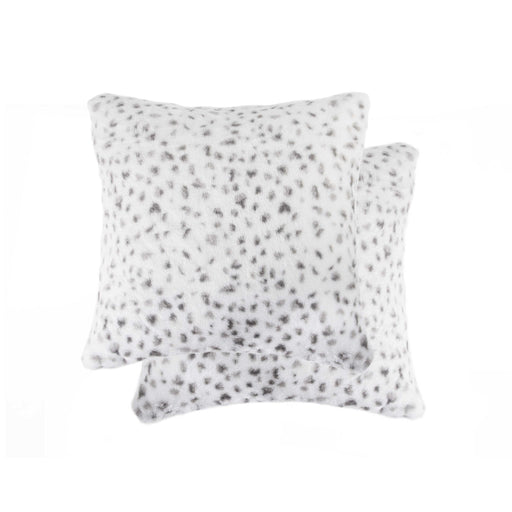 "2-Pack Faux Fur Pillow 18"" X 18"" - Snow Leopard"