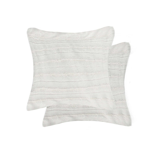 "2-Pack Linear Faux Far Fur Pillow 18"" X 18"" - Off White #21"