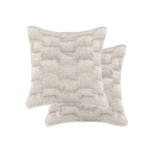 "2-Pack Linear Faux Fur Pillow 18"" X 18"" - Tan #22"