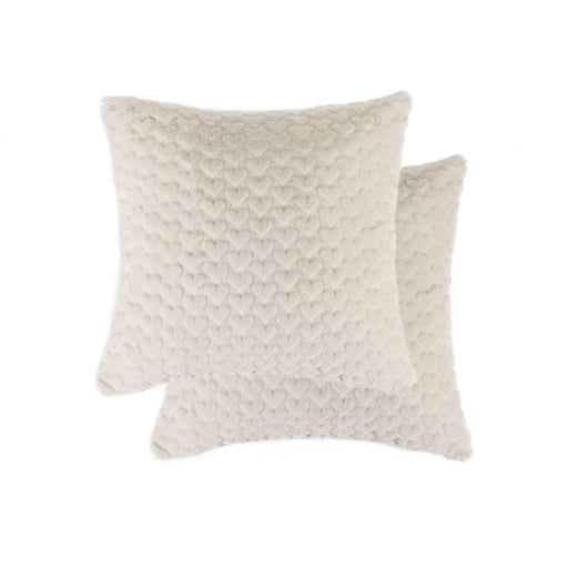 "2-Pack Soft Heart Faux Far Fur Pillow 18"" X 18"" - Off White #23"