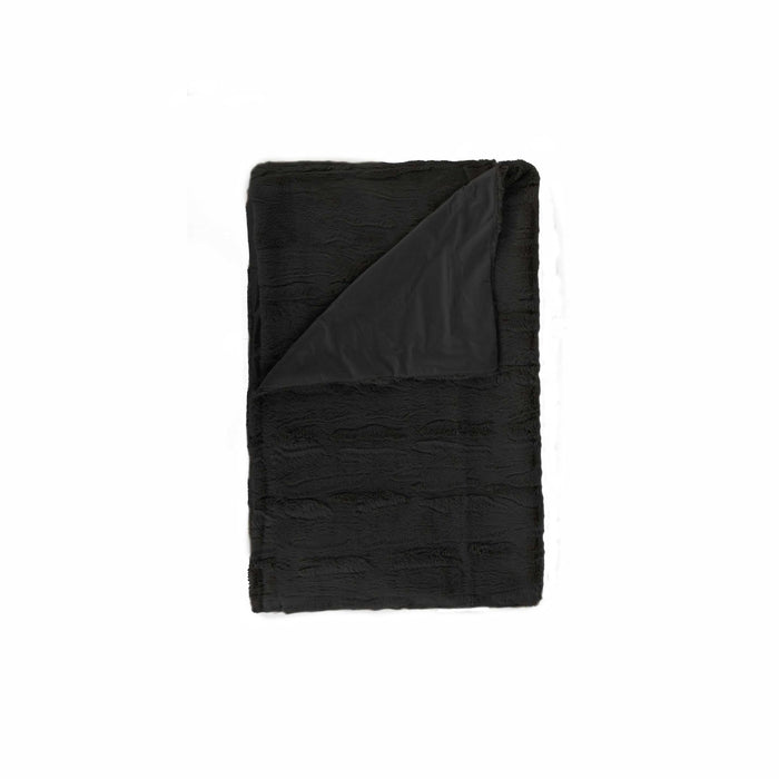 "Faux Fur Throw 50"" X 60"" - Black"