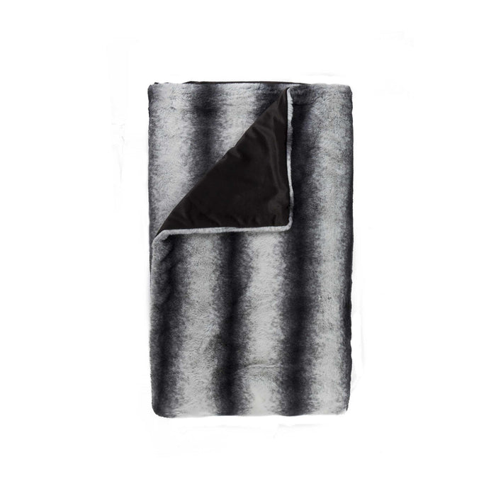 "Faux Fur Throw 50"" X 60"" - Faux Rabbit Grey-White"
