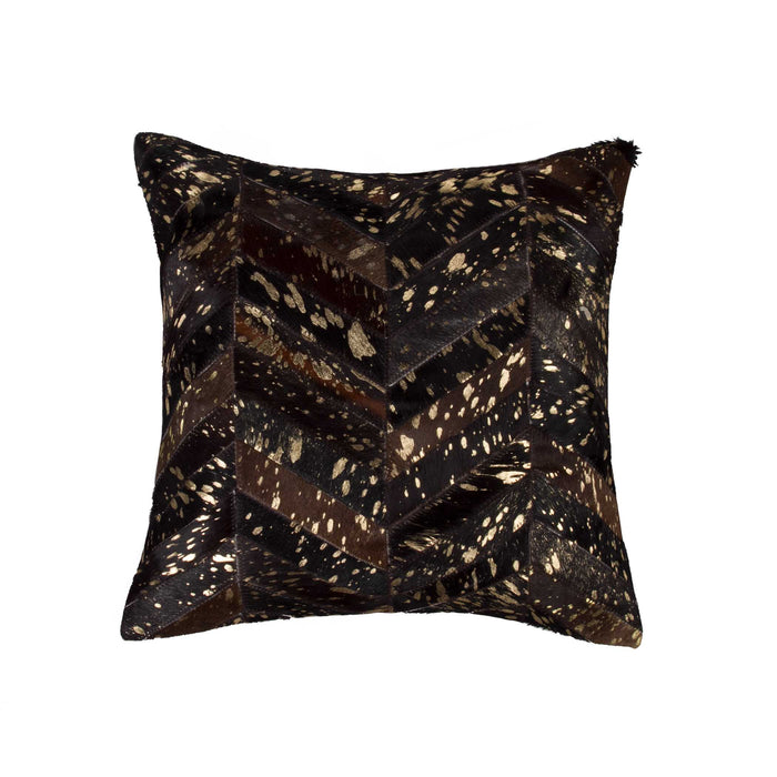 "Torino Chevron Pillow 18"" X 18"" - Chocolate & Gold"