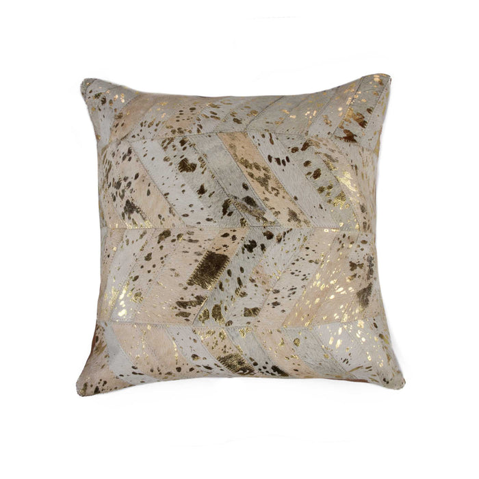 "Torino Chevron Pillow 18"" X 18"" - Natural & Gold"