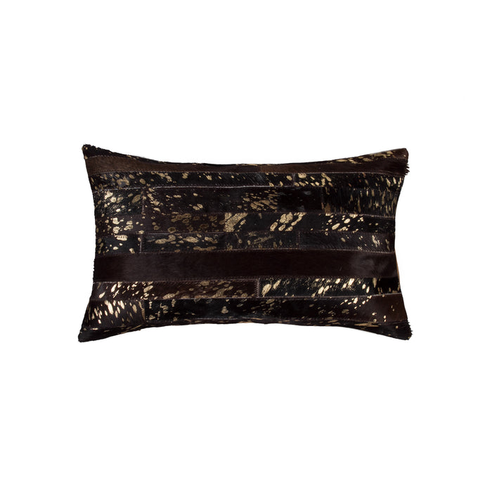 "Torino Madrid Pillow 12"" X 20"" - Chocolate & Gold"