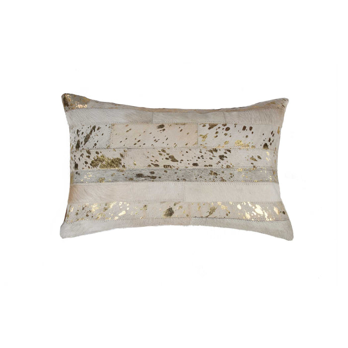 "Torino Madrid Pillow 12"" X 20"" - Natural & Gold"