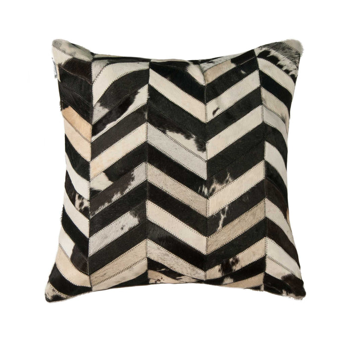 "Torino Classic Large Chevron Cowhide Pillow 22"" X 22"" - Black-White"
