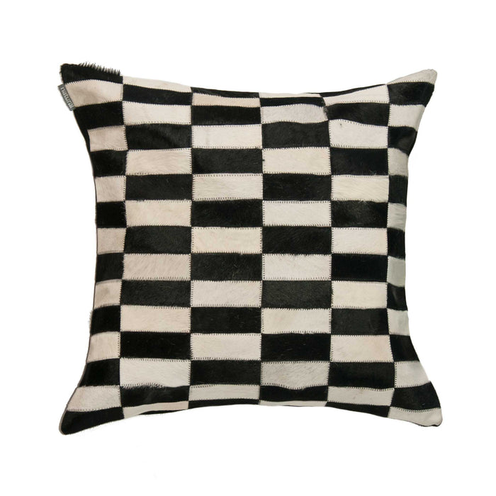 "Torino Classic Large Linear Cowhide Pillow 22"" X 22"" - Black-White"