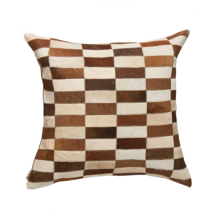 "Torino Classic Large Linear Cowhide Pillow 22"" X 22"" - Brown-White"