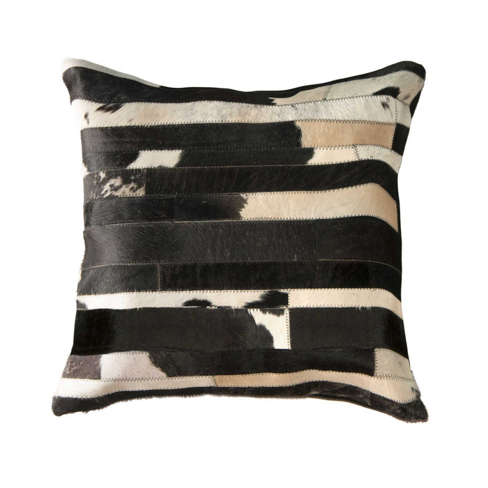 "Torino Classic Large Madrid Cowhide Pillow 22"" X 22"" - Black-White"