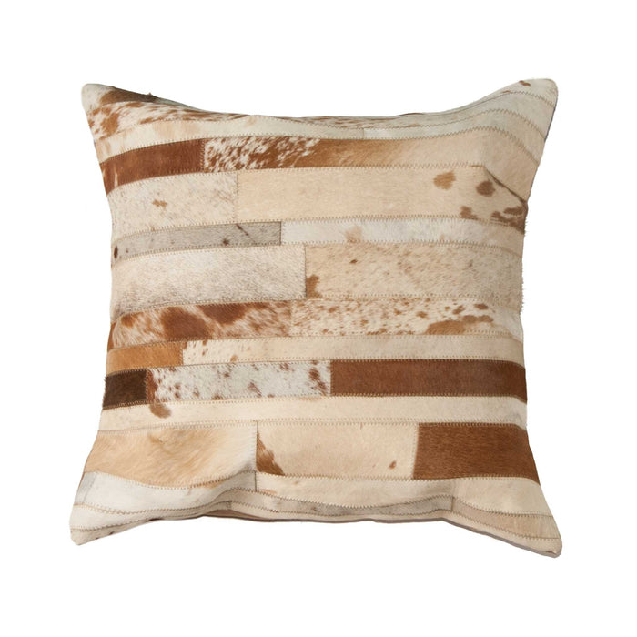 "Torino Classic Large Madrid Cowhide Pillow 22"" X 22"" - Brown-White"