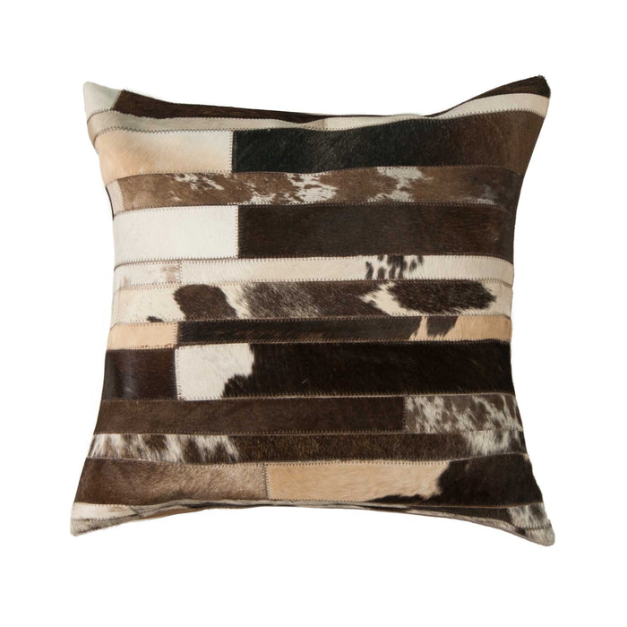 "Torino Classic Large Madrid Cowhide Pillow 22"" X 22"" - Chocolate-White"
