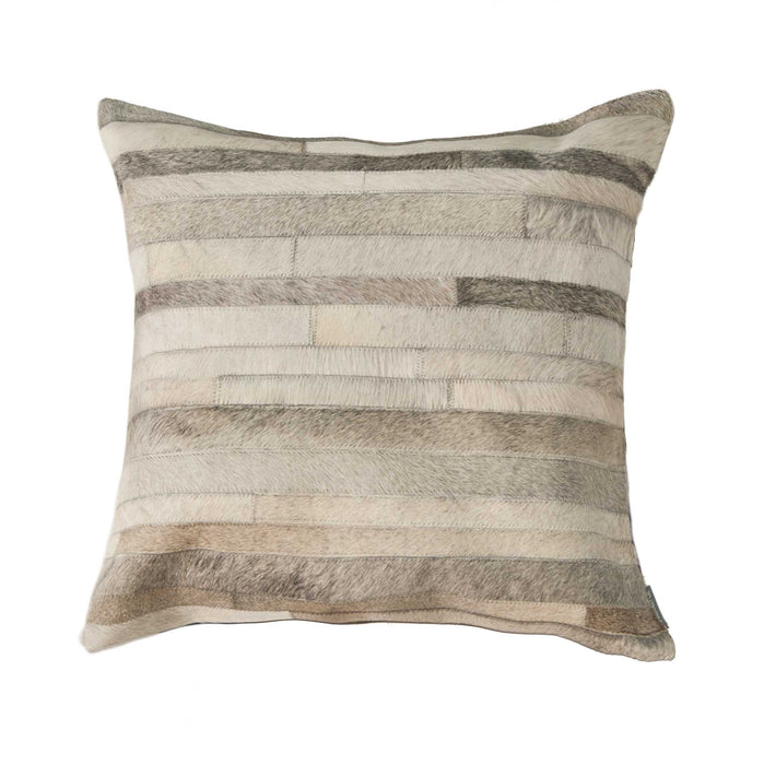 "Torino Classic Large Madrid Cowhide Pillow 22"" X 22"" - Grey"