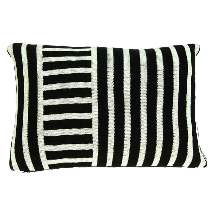 "20"" X 0.5"" X 12"" Transitional Black Cotton Pillow Cover"