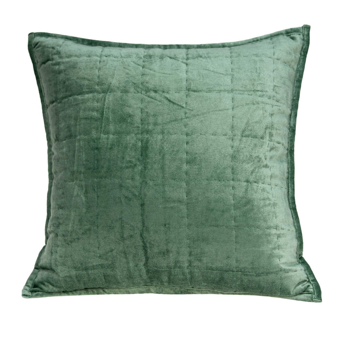 "20"" X 0.5"" X 20"" Transitional Green Solid Quilted Pillow Cover"