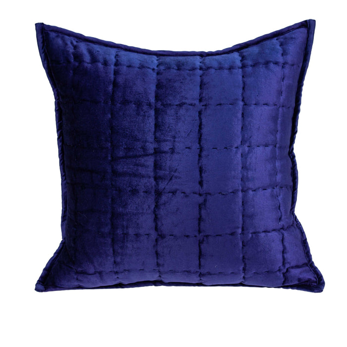"20"" X 0.5"" X 20"" Transitional Royal Blue Solid Quilted Pillow Cover"
