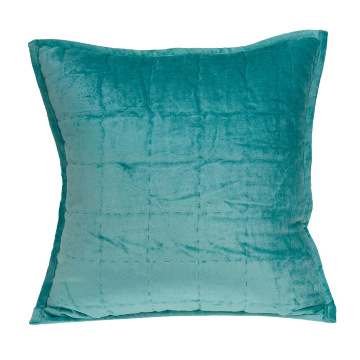 "20"" X 0.5"" X 20"" Transitional Aqua Solid Quilted Pillow Cover"