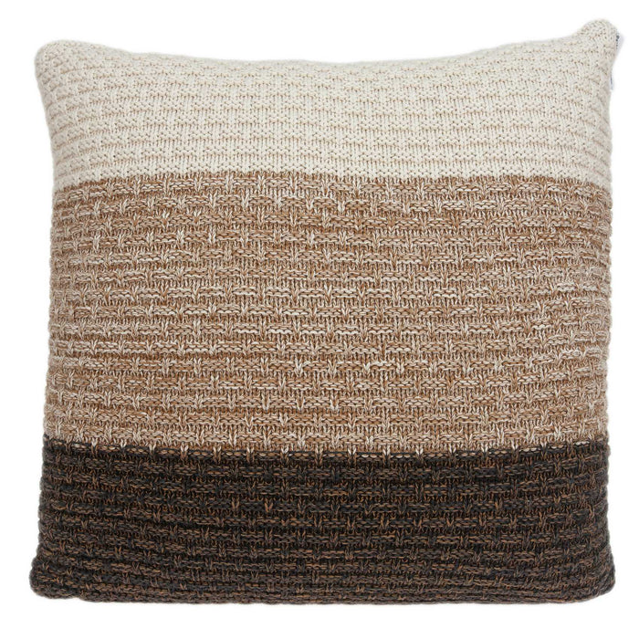 "20"" X 0.5"" X 20"" Transitional Brown And Coffee Cotton Pillow Cover"