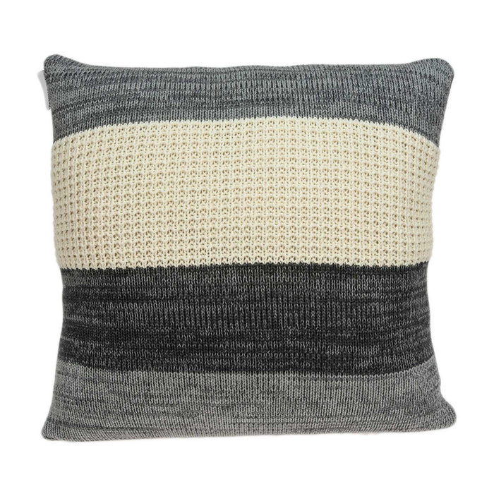 "20"" X 0.5"" X 20"" Transitional Cream And Gray Cotton Pillow Cover"