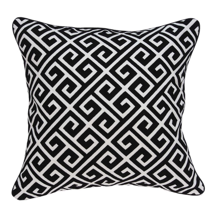 "20"" X 0.5"" X 20"" Transitional Black and White Pillow Cover"