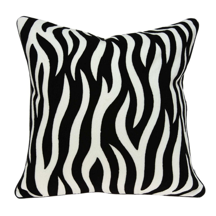 "20"" X 0.5"" X 20"" Transitional Black and White Zebra Pillow Cover"