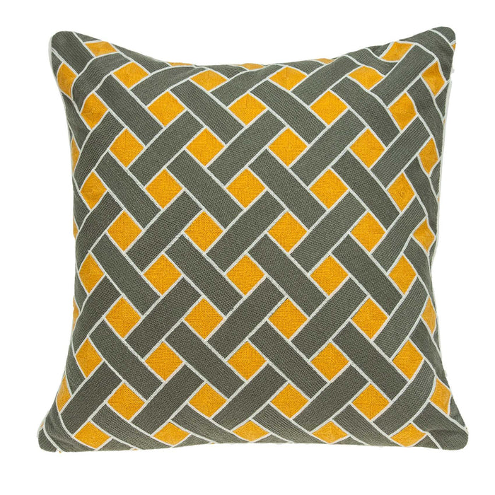 "20"" X 0.5"" X 20"" Transitional Gray and Orange Pillow Cover"
