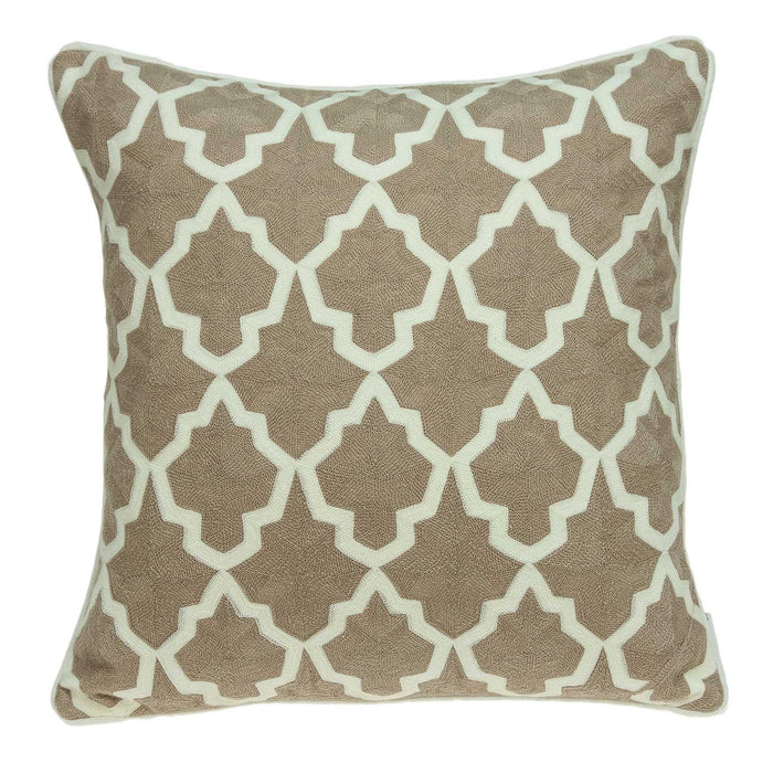 "20"" X 0.5"" X 20"" Transitional Beige and White Pillow Cover"