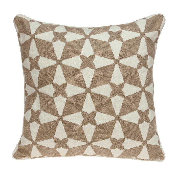 "20"" X 0.5"" X 20"" Transitional Beige and White Accent Pillow Cover"