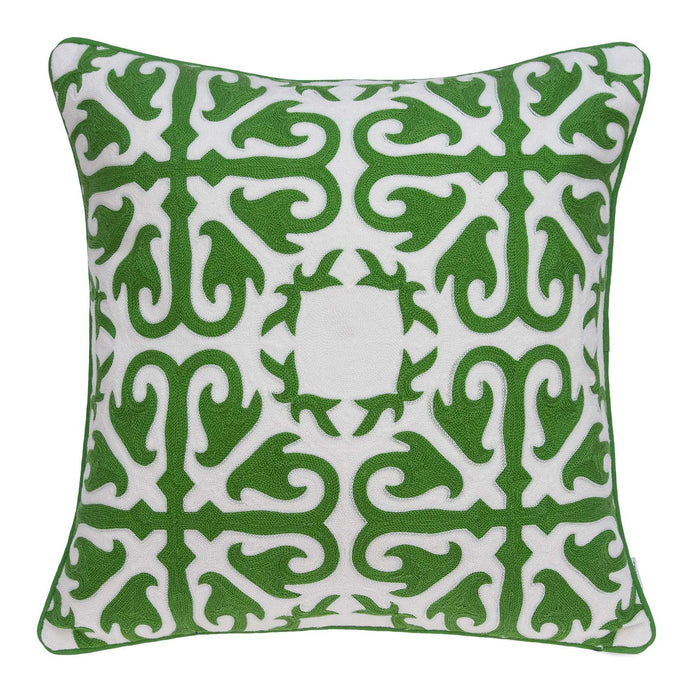 "20"" X 0.5"" X 20"" Transitional Green and White Accent Cotton Pillow Cover"