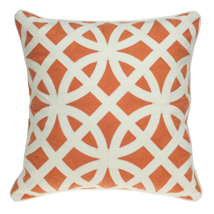 "20"" X 0.5"" X 20"" Transitional Orange And White Pillow Cover"