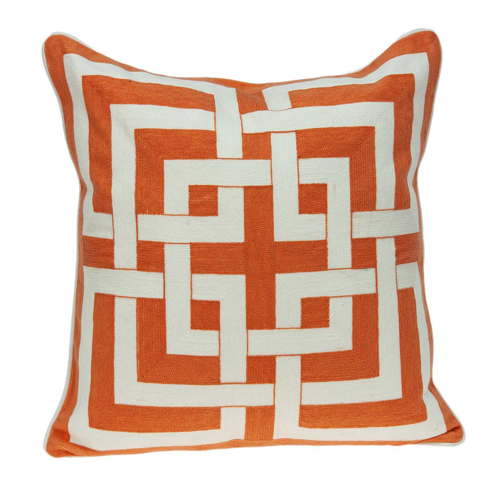 "20"" X 0.5"" X 20"" Transitional Orange And White Accent Pillow Cover"