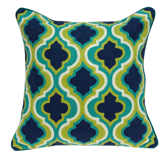 "20"" X 0.5"" X 20"" Traditional Dark Blue And Lemon Accent Pillow Cover"