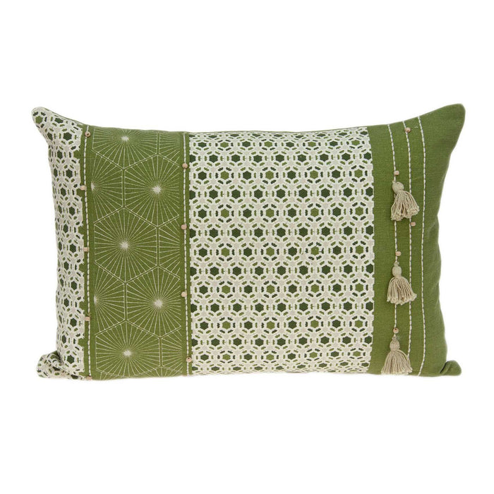 "20"" X 0.5"" X 14"" Tropical Green Pillow Cover"