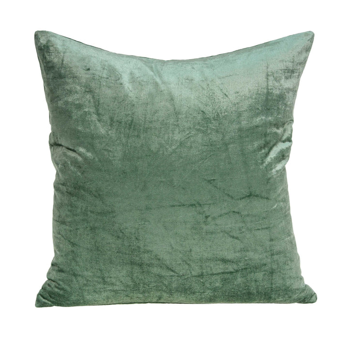 "18"" X 7"" X 18"" Transitional Green Solid Pillow Cover With Poly Insert"