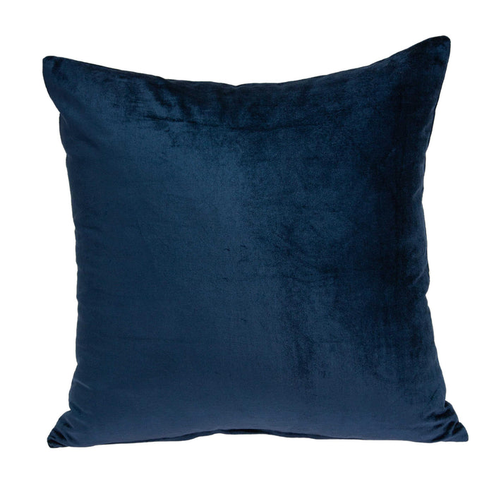 "18"" X 7"" X 18"" Transitional Navy Blue Solid Pillow Cover With Poly Insert"