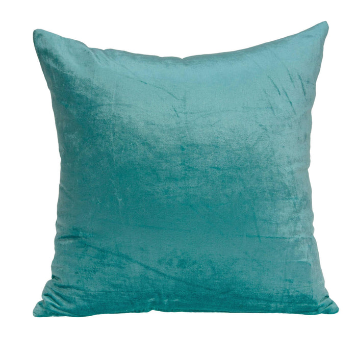 "18"" X 7"" X 18"" Transitional Aqua Solid Pillow Cover With Poly Insert"