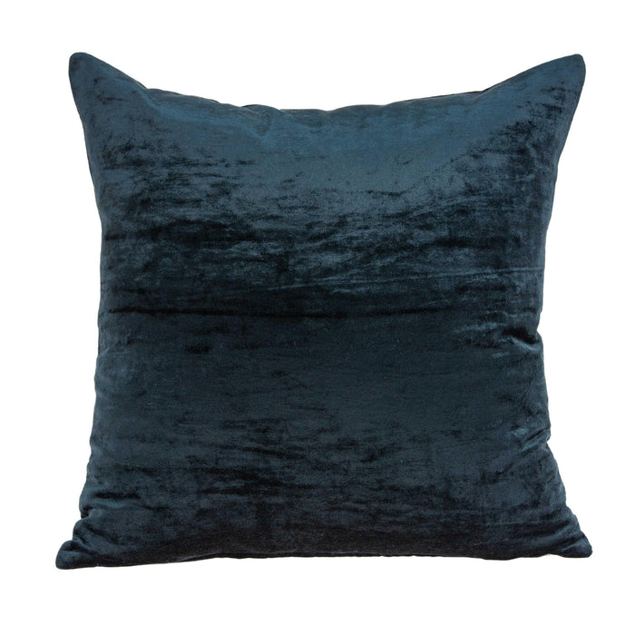 "20"" X 7"" X 20"" Transitional Dark Blue Solid Pillow Cover With Poly Insert"