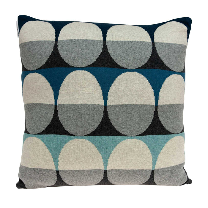 "20"" X 7"" X 20"" Transitional Gray And Blue Pillow Cover With Poly Insert"