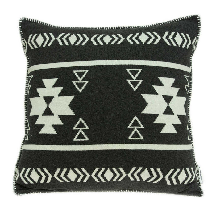 "20"" X 7"" X 20"" Southwest Black Cotton Pillow Cover With Poly Insert"