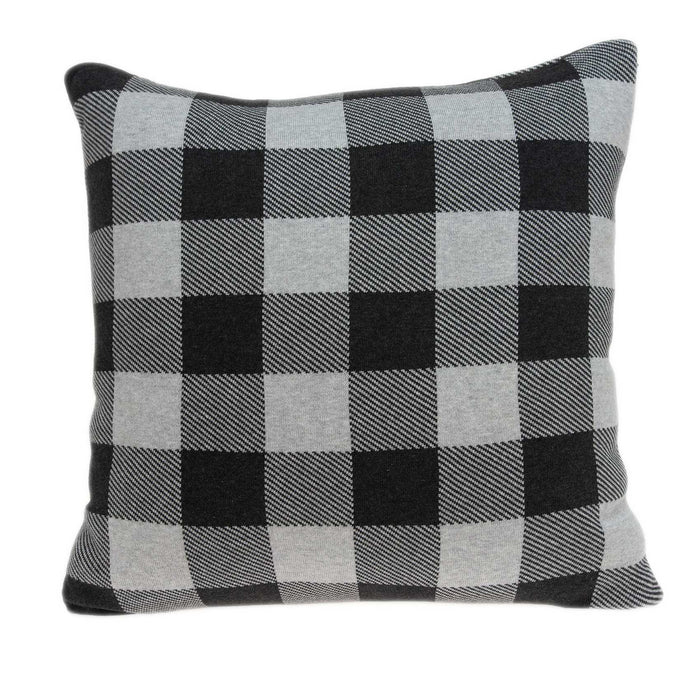 "20"" X 7"" X 20"" Transitional Gray Cotton Pillow Cover With Poly Insert"