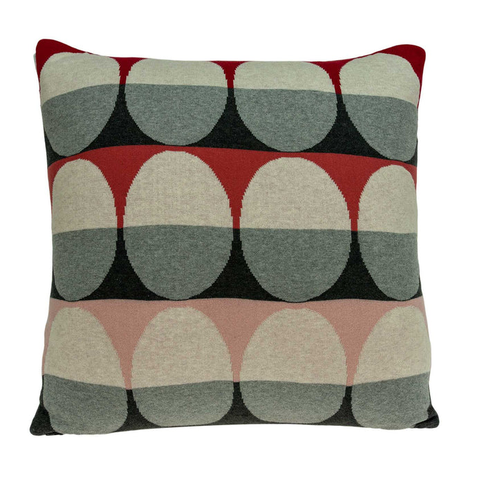 "20"" X 7"" X 20"" Transitional Gray And Red Pillow Cover With Poly Insert"