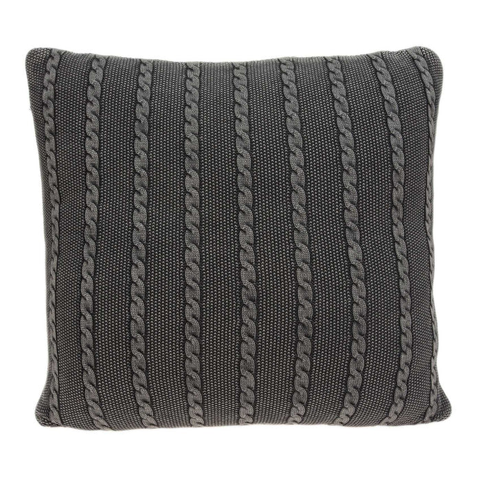 "18"" X 5"" X 18"" Transitional Charcoal Pillow Cover With Poly Insert"
