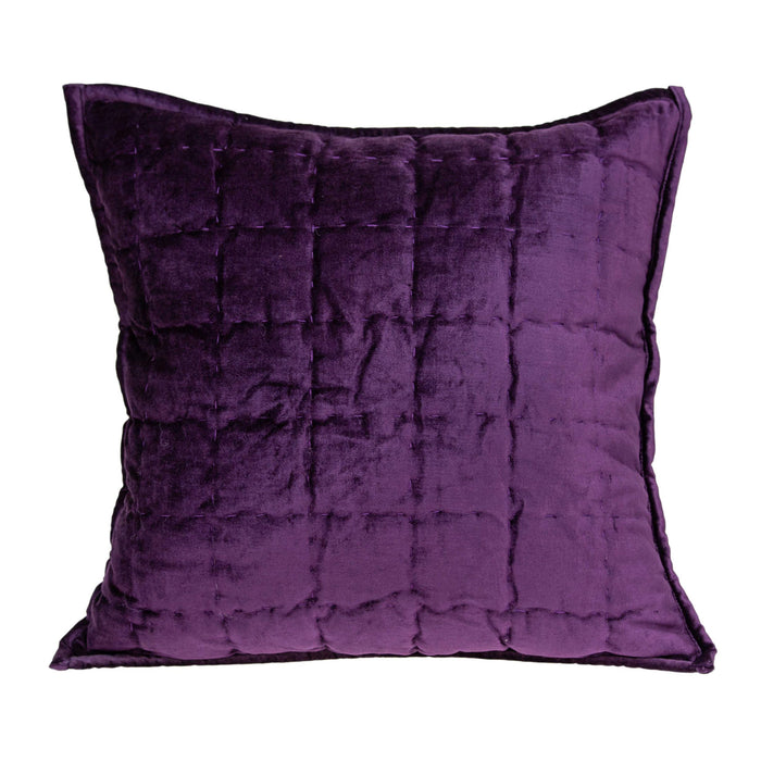 "20"" X 7"" X 20"" Transitional Purple Solid Quilted Pillow Cover With Poly Insert"