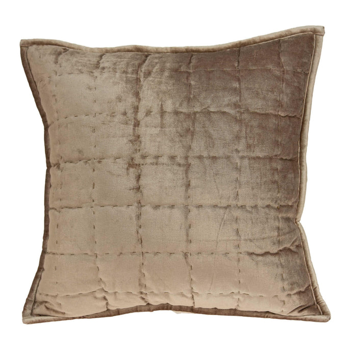 "20"" X 7"" X 20"" Transitional Taupe Solid Quilted Pillow Cover With Poly Insert"