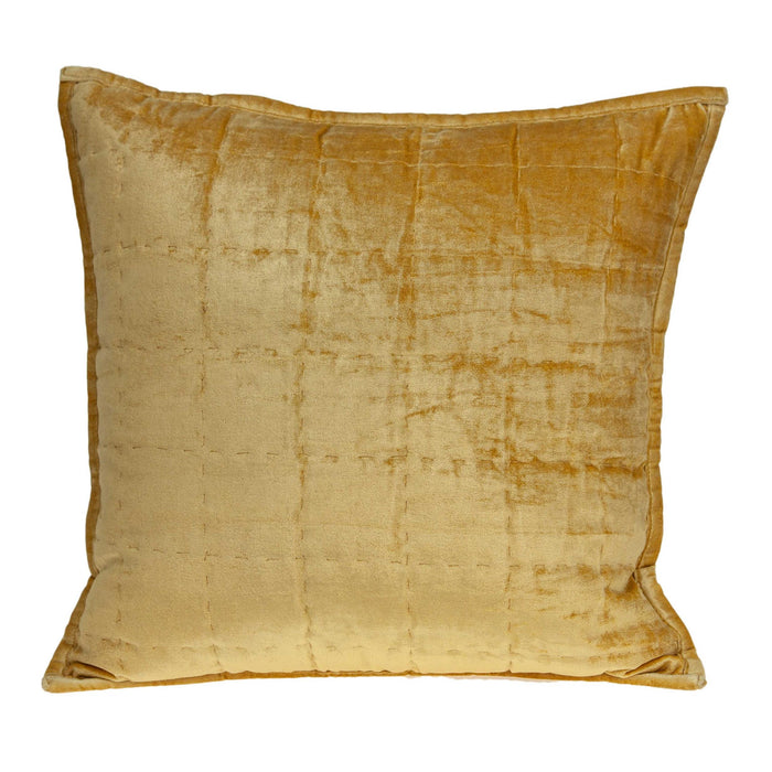 "20"" X 7"" X 20"" Transitional Yellow Solid Quilted Pillow Cover With Poly Insert"